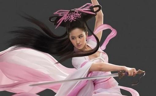 刘亦菲代言网游犹手握佩剑长裙摆舞 如仙女下凡