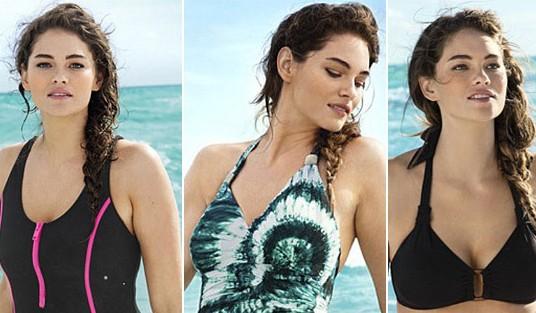 胖女孩的知名品牌泳装广告大片